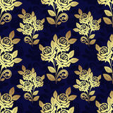 Seamless pattern with golden Roses on blue Royalty Free Stock Photos