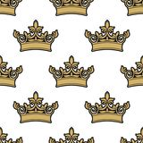 Seamless pattern of golden royal crowns Royalty Free Stock Photography