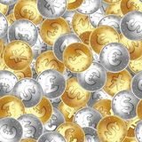 Seamless pattern. Golden and silver coin, money, laying in random order. stock illustration
