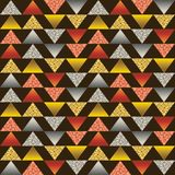 Seamless pattern with golden and silver glittering triangles. Gold geometrical repeatable pattern on brown background. Can be used. For fabric, scrap booking stock illustration