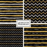 Seamless pattern golden and silvern lines, wave, zig zag stripe Stock Photo