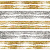 Seamless pattern of golden and silvery strokes. Seamless pattern of gold and silver lines, seamless background grunge golden and silver stripes, hand drawn Stock Images
