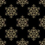 Seamless pattern with golden snowflakes on black background. Seasonal winter collection illustration. Vector Illustration