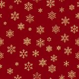 Seamless pattern with golden snowflakes on red background for Christmas or New Year holidays. EPS 10 royalty free illustration