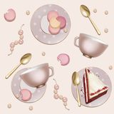 Seamless Pattern of Golden Spoons and Macaroons royalty free illustration