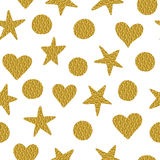 Seamless pattern. Golden stars, circles and hearts. Seamless pattern. Stars, circles and hearts with golden glitter isolated on a white background Royalty Free Stock Photography