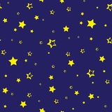 Seamless pattern with golden stars on dark blue background. Vector royalty free illustration
