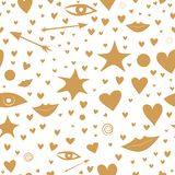 Seamless pattern with golden stars, hearts, lips, arrows, eyes. nice and festive royalty free stock image
