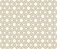 Seamless simple geometric pattern with six-pointed stars and hexagons. Seamless pattern in golden and white in average thickness lines.The six-pointed stars and stock illustration