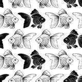Seamless pattern with goldfish. Seamless pattern with black goldfish on white background.Graphic atr.Vector illustration Stock Photo