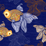 Seamless pattern with goldfish. Stock Image