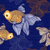 Seamless pattern with goldfish. Stock Image