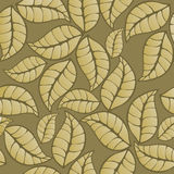 Seamless pattern golgen leaves, background Royalty Free Stock Images