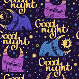 Seamless pattern goodnight with lettering and steer. Royalty Free Stock Photo