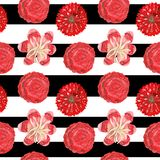 Seamless pattern of gouache red ornamental tropical and mexican flowers on a black-and-white striped background. Seamless pattern of gouache red ornamental stock photography