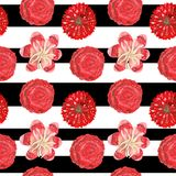 Seamless pattern of gouache red ornamental tropical and mexican flowers on a black-and-white striped background royalty free illustration
