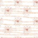 Seamless pattern gouache surreal beige flowers with gold stripes royalty free illustration