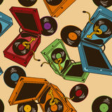 Seamless pattern of gramophones Stock Image