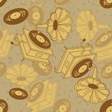Seamless pattern of gramophones Royalty Free Stock Photo