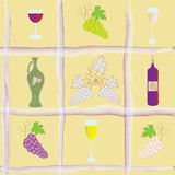 Seamless pattern with grapes,  bottle, goblets , Stock Photos