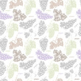 Seamless pattern with grapes, leaves and branches Royalty Free Stock Photo