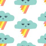 Seamless pattern with graphic cartoon clouds and rainbow. royalty free illustration