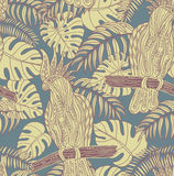 Seamless pattern with graphic cockatoo parrot on a branch with tropical leaves. Vector illustration stock illustration