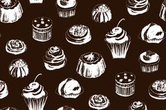 Seamless monochrome pattern with cakes. Vector illustration. Seamless pattern of graphic monochrome cakes on a brown background Royalty Free Stock Photo