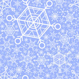 Seamless pattern with graphic snowflakes Royalty Free Stock Images