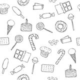 Seamless pattern with graphic sweets. In doodle style Royalty Free Stock Photography