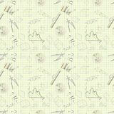 Seamless pattern of graphic tools charts graphs on paper yellow royalty free illustration