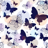 Seamless pattern with graphic vintage butterflies Royalty Free Stock Photos