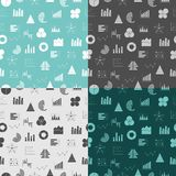 Seamless pattern with graphs and diagrams. Business data graphs icons. Financial and marketing charts. Business. Infographic. Flat icons set vector illustrtaion Stock Image