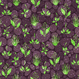Seamless pattern with grass and stones Royalty Free Stock Photography
