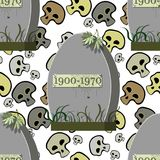 Seamless pattern grave cemetery with a spider skull spider   Royalty Free Stock Photos