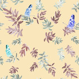 Seamless pattern gray and brown leaves with three butterflies on a beige background. Watercolor Royalty Free Stock Photography