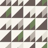 Seamless pattern in gray brown white green colors. Geometrical forms- triangle square rectangle. Vector illustration Stock Photos