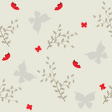 Seamless pattern with gray butterflies and branches Stock Images