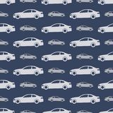 Seamless pattern with cars. Seamless pattern with gray cars on dark blue background. Vector illustration stock illustration