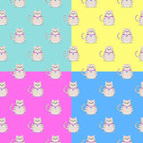 A seamless pattern with a gray cat with a pendant. Stock Image