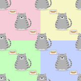 Seamless pattern with a gray cat and sausages. Four seamless patterns with a gray cat and sausages on different backgrounds Stock Image