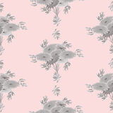 Seamless pattern of gray flowers and leaves on a light pink background. Geometric. Watercolor Stock Photography
