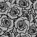Seamless pattern of gray graphic quality roses. Vector illustration Stock Photo