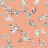 Seamless pattern gray leaves on a pink background. Watercolor Stock Photos