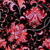 Seamless pattern with gray and red flowers. Beautiful seamless oriental pattern with decorative gray and red flowers on a black background for design, colored vector illustration