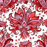 Seamless pattern with gray and red flowers. Beautiful seamless oriental pattern with decorative gray and red flowers on a white background for design, colored royalty free illustration