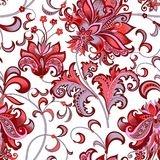 Seamless pattern with  gray  and red flowers. Beautiful seamless oriental pattern with  decorative gray and red flowers on a white background for design, colored Royalty Free Stock Photography