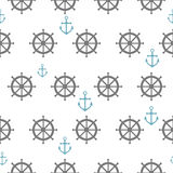 Seamless pattern with gray rudders and blue anchors. Nautical th Stock Images