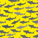 Seamless pattern with gray sharks  on bright yellow background. Vector Stock Images