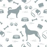Seamless pattern with great dane and chihuahua, silhouette, comb stock illustration